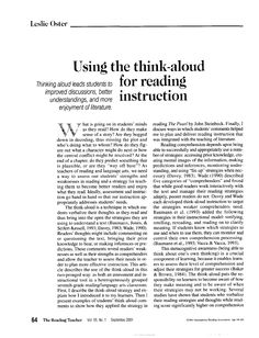 """Using the think aloud for reading instruction .pdf This is a great article discussing the value of """"think alouds"""" discussed in chapter four. I had never heard of this technique before now. This article provides a clear description on how beneficial think alouds can be in the classroom."""