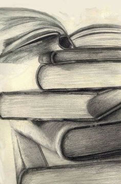 Drawing of stacked books