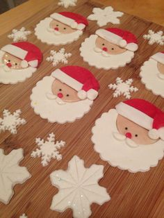 Santa and snowflake cupcake toppers