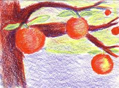 Ripe Apples. 10 minute drawing with Stockmar wax colors using only prime colors.