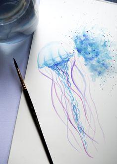 watercolour jellyfish by sara mitchell