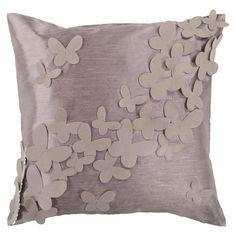 Butterflies Pillow in Gray.