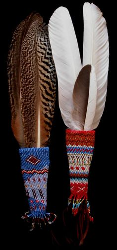 Native American Prayer Fans - (now this is 'real' peyote stitch)