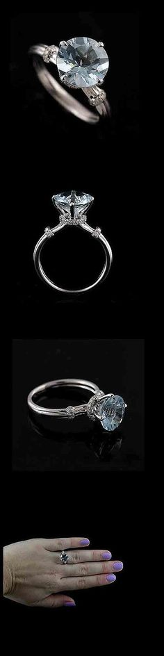 Other Engagement Rings 164308: Pave Diamond Aquamarine Engagement Ring 14K White Gold -> BUY IT NOW ONLY: $1199 on eBay!