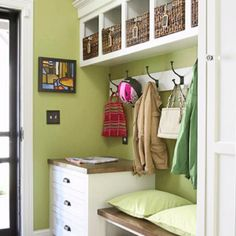 Mud room makeover! Successfully manage the influx of papers and outerwear near your home's main entry point with a combination of drawers, seating, and hooks. A chest of drawers provides dual benefits: Its table surface gives you an immediate place to drop items, while the drawers below keep small odds and ends neatly contained. A bench encourages family members to remove their shoes before they track dirt into the house. Hooks keep coats and bags at the ready. If you have space, add cubbies…