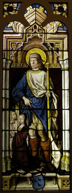 Stained Glass Panel with Saint Roch, the van Merle Family Arms and a Donor.  Date:     16th century. Geography:     Made in Cologne, Germany.