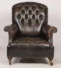 ENGLISH LEATHER LIBRARY CHAIR TUFTED C.1900