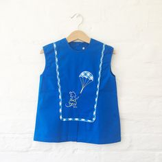 60's Blue Embroidered Dress French Stock Sizes 3-6, 9-12 Months and 2-3 Years