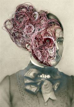 'maurizio anzeri: makeup art or embroidered portraits' - evelyne politanoff, 2012 [huffington post article + series of maurizio anzeri images] Collages, Collage Art, Dada Collage, Art Du Fil, Contemporary Embroidery, A Level Art, Gcse Art, Textile Artists, Art Plastique