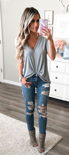 summer outfits  Jeans And A Tee Are Always My Go-to! My Fav Distressed Jeans Are Back In Stock In All Sizes! They Have The Best Rips! This Tee Is Only $32 And Comes In 6 Colors--pretty Sure I Need Them All!