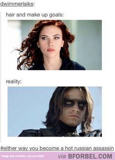 Makeup goal, versus reality. Scarlet Johansen as Black Widow, Sabastian Stan as Bucky, the Winter Soldier. Captain America 2