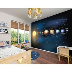 Large Children's Planets Photo Wallpaper Wall Mural Children's Bedroom Decor, Boy's Bedroom - Space Planets Wallpaper by PurpleEyeDesign on Etsy Boys Space Bedroom, Outer Space Bedroom, Bedroom Wallpaper Murals, Boy Room, Space Themed Wallpaper, Cool Boys Room, Cool Kids Rooms, Boys Bedroom Decor, Master Bedroom