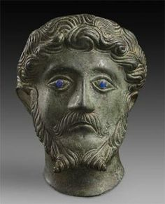 Bronze Head of the Roman Emperor Marcus Aurelius, Ashmolean Museum.  Found near Brackley, Northamptonshire, the half-life-sized portrait (16.2cm high) was hollow-cast in heavily leaded bronze, using iron spacers, traces of which may still be seen on the top of the head, inside and out.