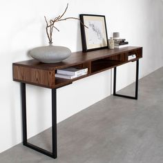 Marston Wide Console Table on Minimalist Square Legs Solid walnut minimal console table that doubles Vinyl Record Cabinet, Vinyl Record Storage, Bedroom Desk, Diy Bedroom Decor, Home Decor, Narrow Hall Table, Solid Wood Table, Minimalist Furniture, Home Office Space