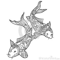 Chinese cherry blossom coloring pages bing images adult and children 39 s coloring pages - Dessin carpe koi ...