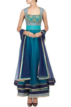 The colors (obviously) and the false vest effect on the bodice Turquoise and blue shaded anarkali suit – Panache Haute Couture India Fashion, Asian Fashion, Emo Fashion, London Fashion, Street Fashion, Latest Fashion, Indian Attire, Indian Wear, Indian Blue