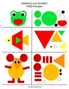 Create animals with shapes, shape art, shape cutouts for children in advance . - Create animals with shapes, shape art, shape cutouts for preschoolers – cutouts - Toddler Learning, Preschool Learning, Toddler Activities, Preschool Activities, Animal Activities For Kids, Toddler Worksheets, Nature Activities, Preschool Age, Wedding Activities