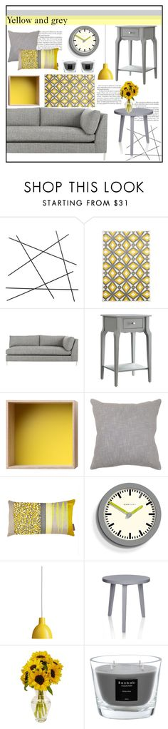 """Yellow and grey"" by liironnx on Polyvore featuring interior, interiors, interior design, home, home decor, interior decorating, CB2, Unitex International, Muuto and Villa Home Collection"