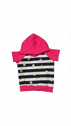 Hot pink, black & white stripes, gold polka dots, Light weight, short sleeve sweatshirt, hoodie, babies/toddlers/children  by Allsnazziedup on Etsy https://www.etsy.com/listing/235935924/hot-pink-black-white-stripes-gold-polka