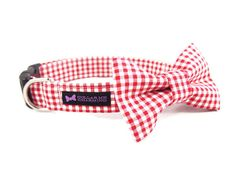 Red Gingham Dog Collar Bow Tie Set by CollarMeCharming on Etsy