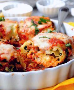 Spinach Lasagna Rollups with Portobello Mushrooms, Ricotta, Parmesan, and Mozzarella