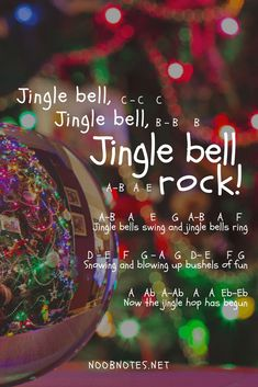 music notes for newbies: Jingle Bell Rock – Bobby Helms / Glee. Play popular songs and traditional music with note letters for easy fun beginner instrument practice - great for flute, piccolo, recorder, piano and Piano Sheet Music Letters, Clarinet Sheet Music, Saxophone Music, Easy Piano Sheet Music, Music Chords, Piano Music Notes, Music Music, Music Lyrics, Christmas Piano Music