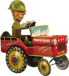 G.I. Joe and His Jouncing Jeep Mechanical Tin Toy by Unique Art Mfg. Co., Inc.