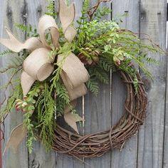 Succulent Wreath - Wreath Great for All Year Round - Everyday Burlap Wreath, Door Wreath, Front Door Wreath by fougere Wreath Crafts, Diy Wreath, Grapevine Wreath, Burlap Wreath, Diy Crafts, Wreath Hanger, Greenery Wreath, Wreath Ideas, Burlap Ribbon