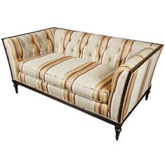 French Multi-Striped Tufted Loveseat | From a unique collection of antique and modern loveseats at http://www.1stdibs.com/furniture/seating/loveseats/