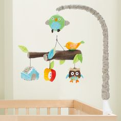 New Skip Hop Musical Crib Mobile Treetop Friends Forest Owl Nursery Soother