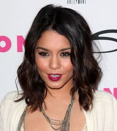 Vanessa Hudgens short choppy bob black shiny curls black to brown ombre hair