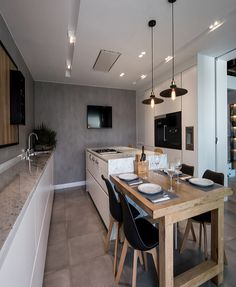 kitchen island butcher block doubles as dining table Updated Kitchen, New Kitchen, Kitchen Interior, Kitchen Dining, Kitchen Island, Dining Room, Dining Table, Kitchen Ideas, Kitchen Remodel