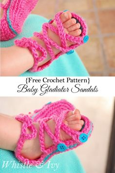 Baby Button Gladiator Sandal - free pattern and video tutorial {Free Crochet Pattern by Whistle and Ivy} Crochet Baby Sandals, Booties Crochet, Crochet Baby Clothes, Crochet Shoes, Crochet Slippers, Baby Booties, Baby Gladiator Sandals, Crochet For Kids, Free Crochet