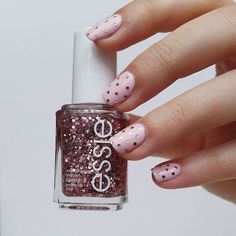 Polka dot perfection with a touch of sparkle. Featuring essie 'a cut above'.    DBP, Toluene and Formaldehyde free.    For the full essie range, head to: www.essie.com.au