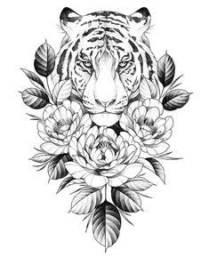 Tatuajes # sunflower_tattoo_black_and_whi . Tatuajes # sunflower_tattoo_black_and_whi . Tiger Tattoo Design, Mandala Tattoo Design, Flower Tattoo Designs, Tattoo Designs For Women, Tiger Design, Flower Tattoo Drawings, Animal Mandala Tattoo, Tattoo Outline Drawing, New Tattoo Designs