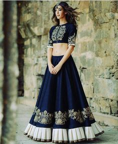 Buy Ramapir Collection Blue Banglory Silk Designer Wear Lehenga Choli online in India at best price.mpress everyone around with this bhagalpuri lehenga choli in navy blue. Choli Designs, Lehenga Designs, Blouse Designs, Pakistani Dresses, Indian Dresses, Indian Sarees, Indian Attire, Indian Ethnic Wear, Indian Style