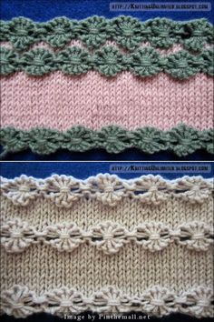 """ #Knitting_Tutorial for Flowers in a Row #Knitting_Stitch. This is much easier than it looks. Pattern: Cast on multiple of 6 sts + 1. Row 1: Knit Row 2: Knit 1, * (knit the next stitch wrapping the yarn 3 times around the needle) 5 times, Knit 1; repeat from * to end. Row 3: Purl 1, * flower stitch; purl 1; repeat from * to end. Row 4: Knit. Video at knittingunlimited."" Enjoy! #KnittingGuru ** http://www.KnittingGuru.etsy.com"