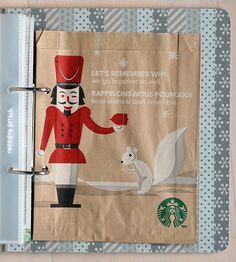 Starbucks bag. A MUST along with the Trader Joe's bag...