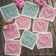 Bobble stitch squares.