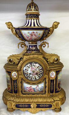 Rare Sevres clock garniture