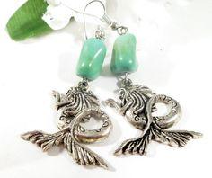 Sea Green Magnesite Beaded Mermaid Dangle by EnchantedRoseShop