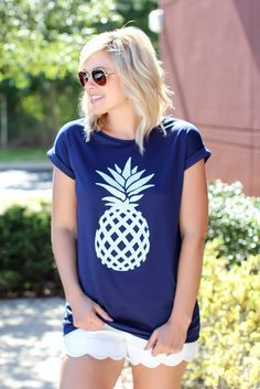 Can't Touch Pineapple Tee - Navy