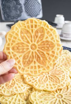 Pizzelle Cookies - These Italian waffle cookies are light, crispy & delicious! A festive dessert, breakfast or snack. Pizzelle Cookies, Waffle Cookies, Italian Cookies, Italian Desserts, Italian Foods, Italian Recipes, Dessert Tray, Breakfast Dessert, Pizelle Recipe