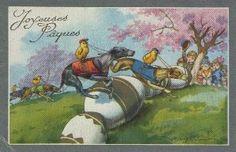 joyeuses paques greeting cards | GREYHOUNDSPOSTCARDS