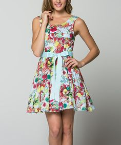 Look what I found on #zulily! Blue Floral A-Line Dress by La Scala #zulilyfinds