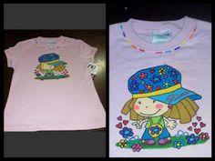 camiseta pintada a mano niña hippie