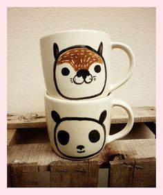 TWO MUGS Racoon and panda by mirubrugmann on Etsy,