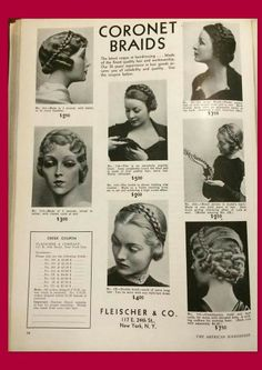 Vogue Braided Hair Extentions from Feb1935 American HairDresser:-) LoVeLoVe