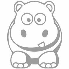 Cartoon Hippo Decal Sticker. Available in 19 colors! $