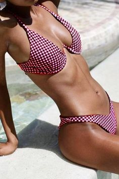 74bbc093db Bikini L   red Pavacat Plaid Spaghetti Strap Underwire Bikini Set Swimsuit  Material